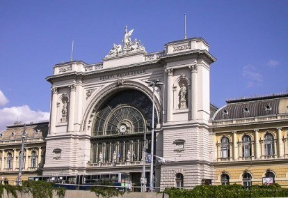 view of keleti train station façade in Budapest