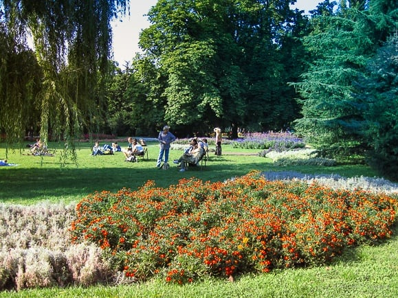 view of the green spaces and flower beds on Margaret Island in budapest