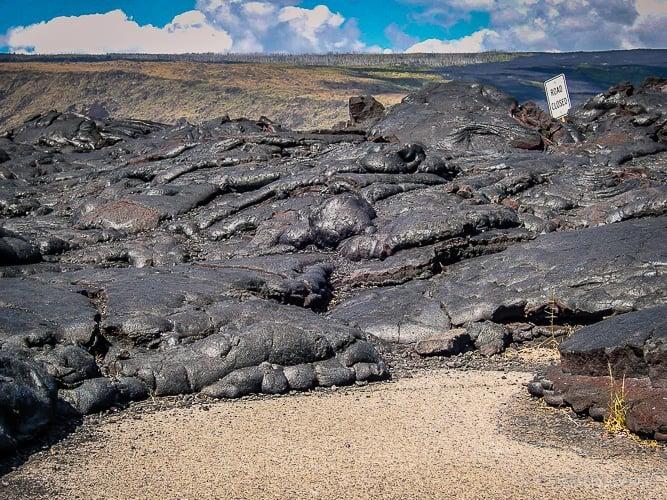 Lava flow across the road