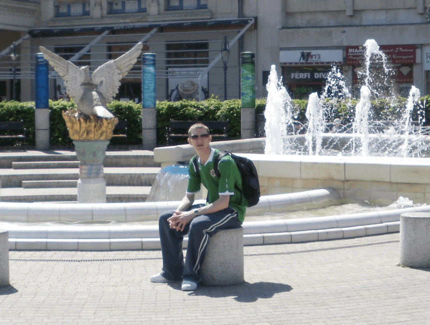 Jonny Blair backpacking in Debrecen in Hungary
